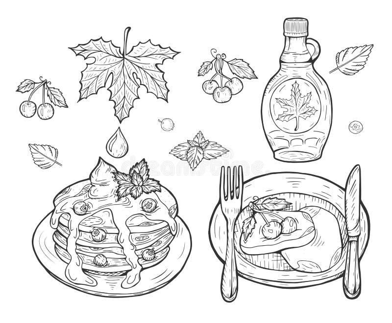 薄煎饼用枫蜜 向量例证