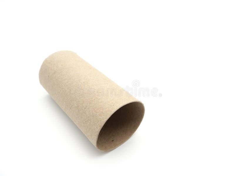 薄纸卷核心 倒空在a隔绝的卫生纸的卷 免版税库存图片
