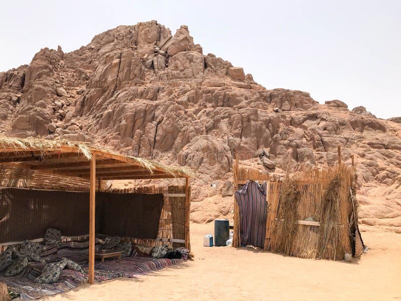 薄纸,被毁坏的剥落,易碎,易碎的恶劣的住宅,一个流浪的大厦由秸杆,枝杈制成在t的一片含沙热的沙漠 库存图片