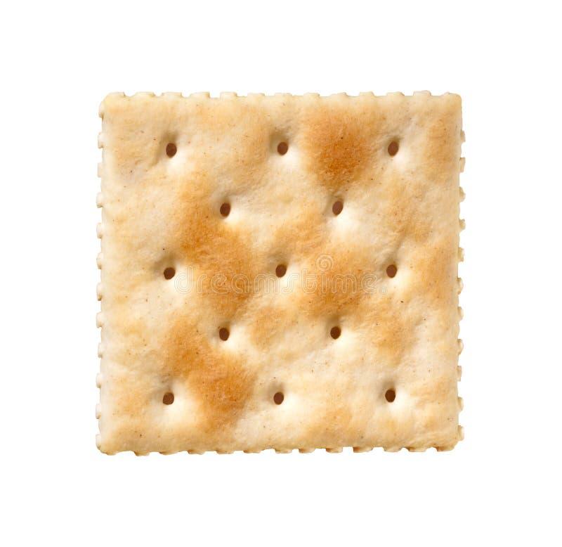 薄脆饼干查出的撒盐饼干白色 库存照片