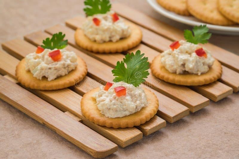 薄脆饼干用在木板材的金枪鱼色拉 免版税库存照片