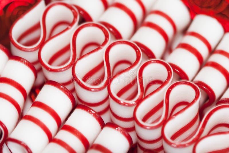 薄荷丝带圣诞节糖果 免版税图库摄影
