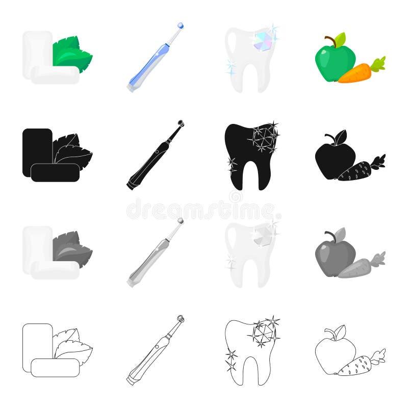 薄荷的口香糖,牙齿保护的一把机械牙刷,一颗健康牙,健康菜 牙齿保护集合 向量例证