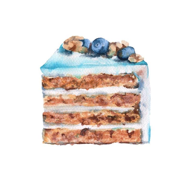 薄荷的蛋糕 背景查出的白色 额嘴装饰飞行例证图象其纸部分燕子水彩 皇族释放例证