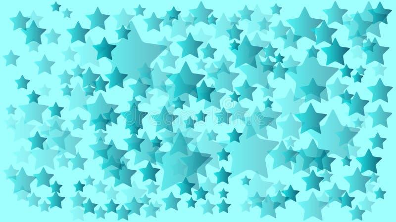 薄荷的颜色许多任意大小星背景 皇族释放例证