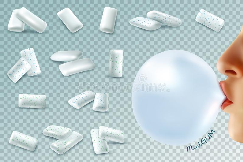 薄荷的Bubblegum现实集合 向量例证
