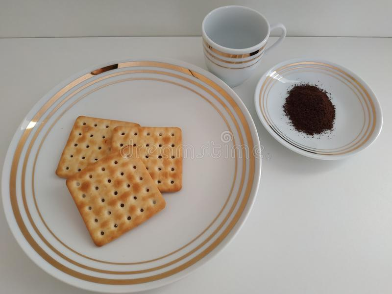 薄酥饼和咖啡 图库摄影