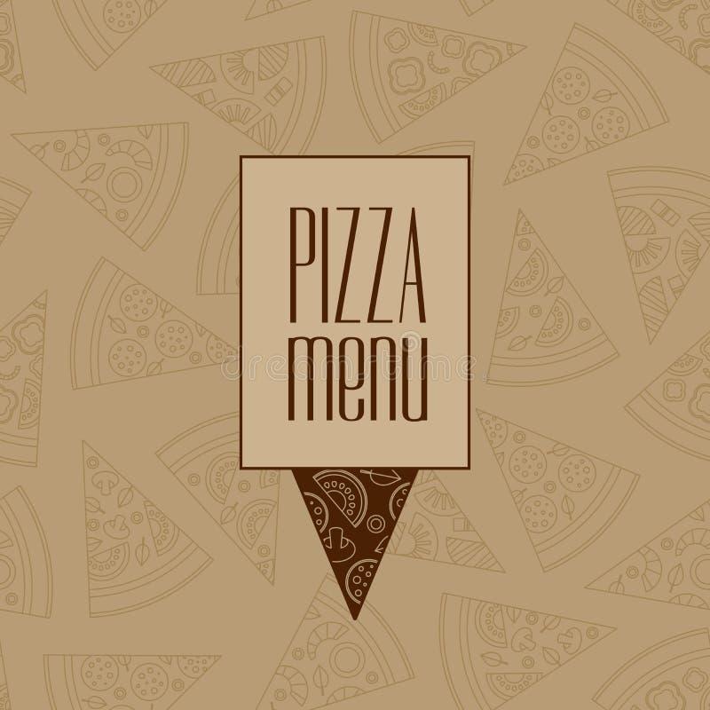 薄饼与现代线图表的菜单设计 薄饼餐馆地点 库存例证