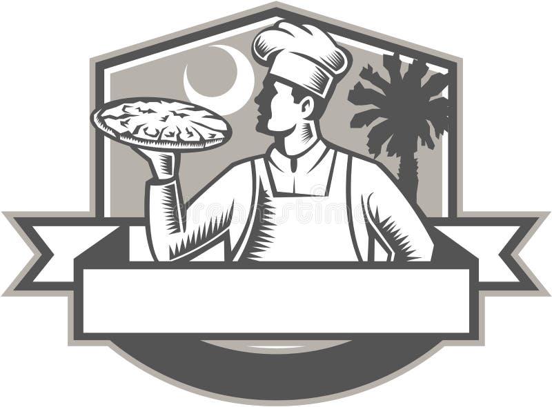 薄饼厨师薄饼月亮矮棕榈条减速火箭树的盾 皇族释放例证