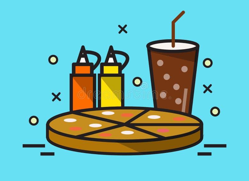 薄饼和可乐饮料 向量例证