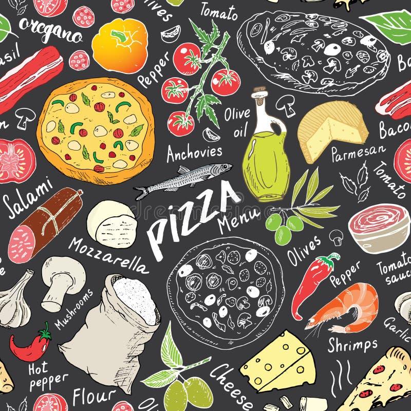 薄饼无缝的样式手拉的剪影 薄饼乱画食物背景用面粉和其他食品成分、烤箱和厨房 库存例证