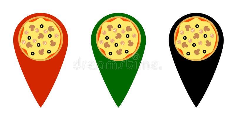 薄饼点地图标志不同的颜色 皇族释放例证