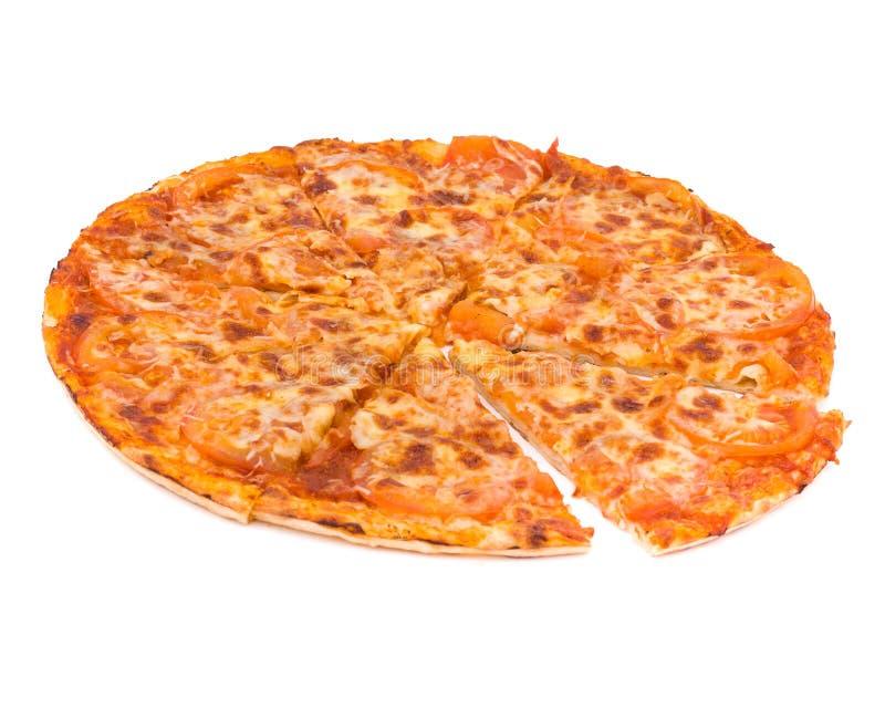 薄饼用在白色和火腿隔绝的乳酪 库存照片