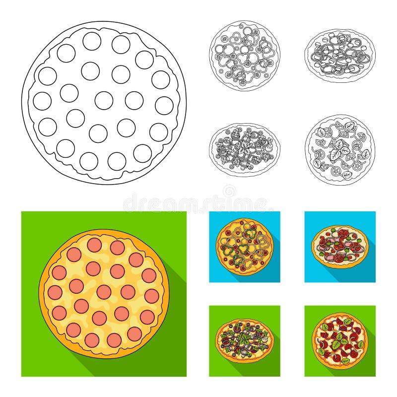 薄饼用肉、乳酪和其他装填 另外在概述,平的样式传染媒介标志的薄饼集合汇集象 皇族释放例证