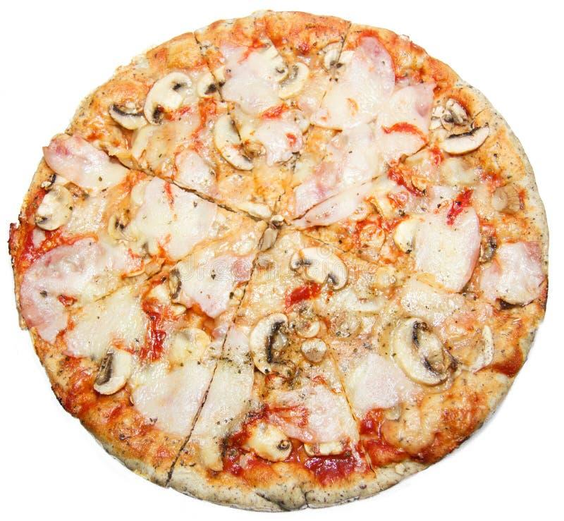 薄饼用蘑菇在白色背景和火腿隔绝的乳酪 免版税库存照片