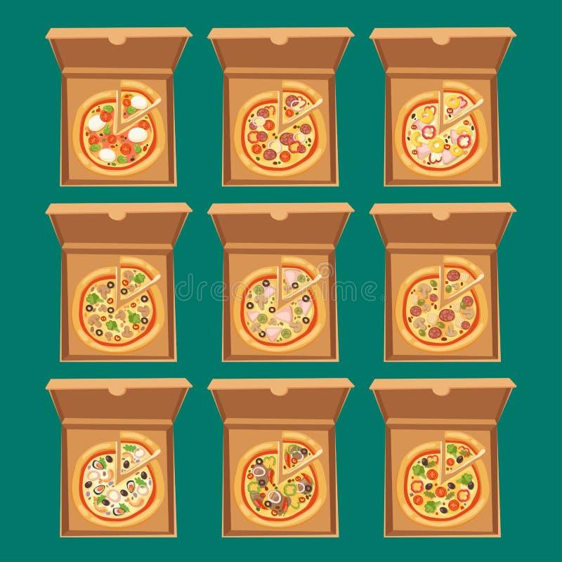 薄饼箱子传染媒介例证纸板纸盒对象包裹纸箱食物设计交付午餐 库存例证
