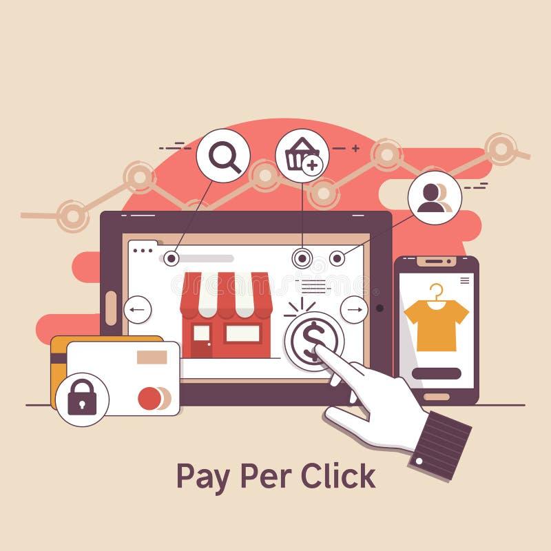 薪水每点击,网路银行 SEO.互联网营销概念 PPC广告和转换 也corel凹道例证向量 向量例证