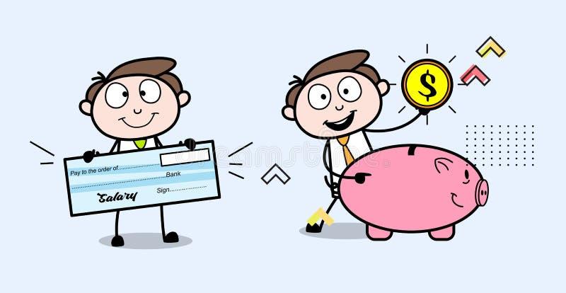 薪金和挽救陈列动画片专业商人 向量例证