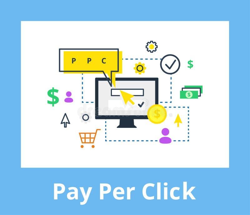 薪水每个点击例证 互联网营销、广告概念在线和平的样式 皇族释放例证