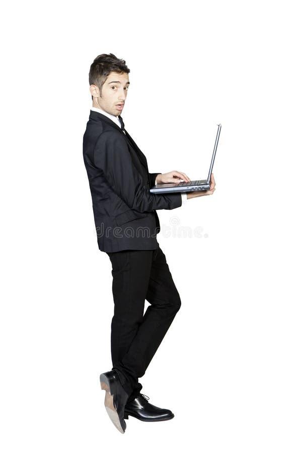 藏品膝上型计算机人时髦的无尾礼服&# 免版税库存照片
