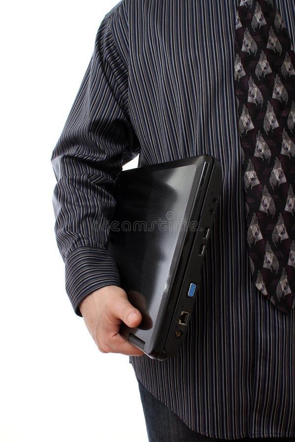 藏品膝上型计算机人 免版税库存图片