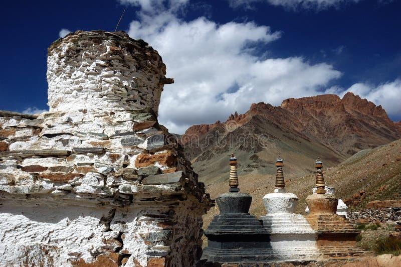 藏语ladakh的stupas 免版税图库摄影