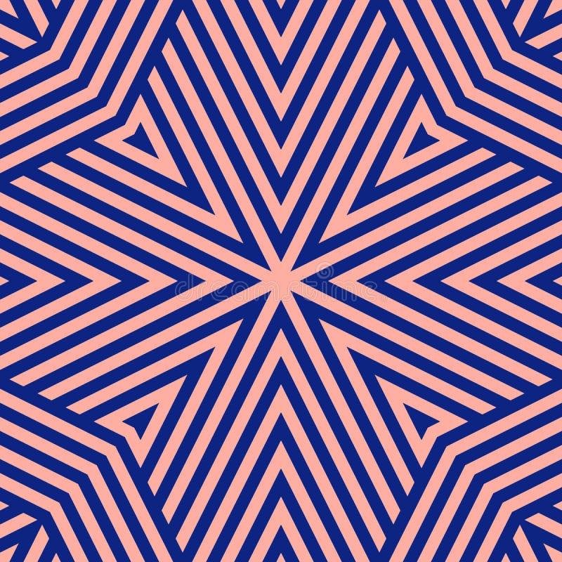 藏青色和桃红色几何线无缝的样式 家庭装饰的,印刷品创造性的重复设计 皇族释放例证
