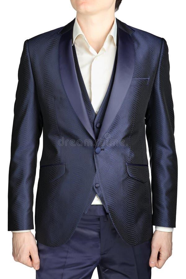藏青色精神婚礼礼服,新郎服装,燃烧物,背心 库存照片