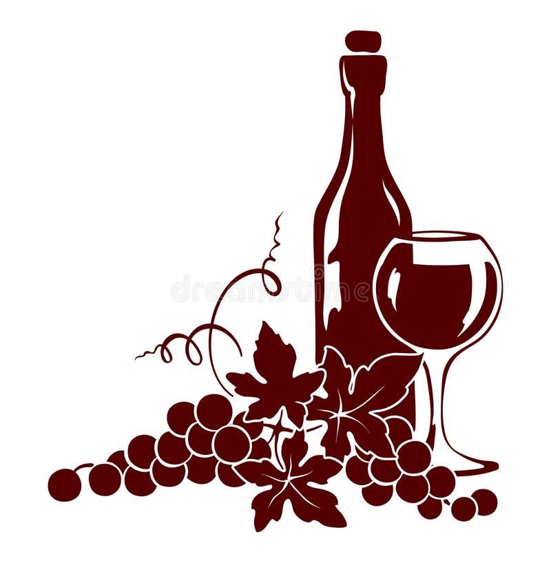 藤和酒瓶 向量例证
