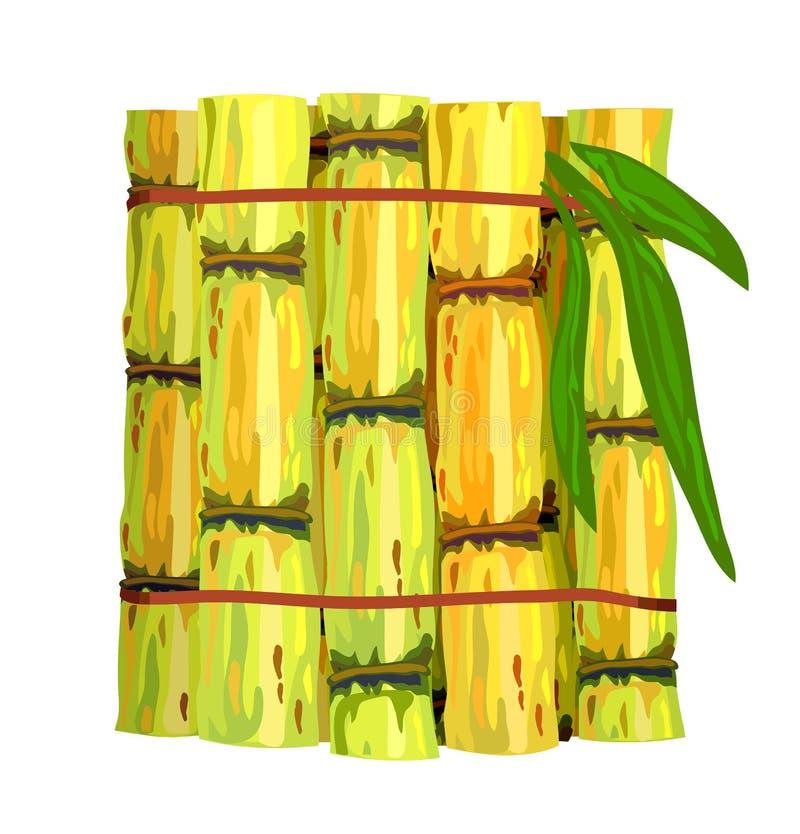 藤茎偷偷靠近糖 向量例证