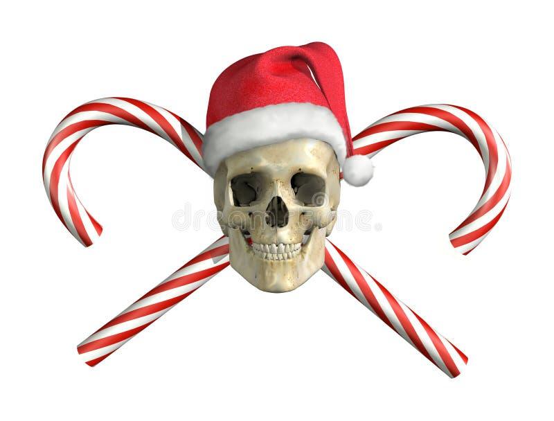 藤茎圣诞节交叉头骨 库存例证