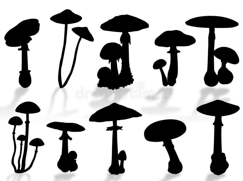 蘑菇剪影 库存例证