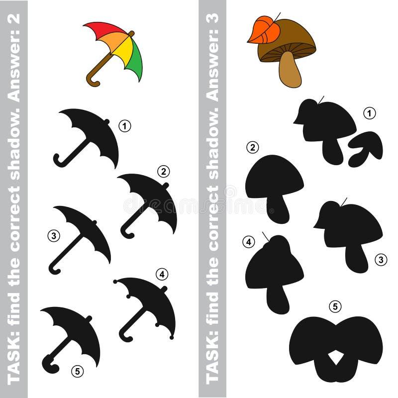 蘑菇和伞 发现真实的正确阴影 向量例证