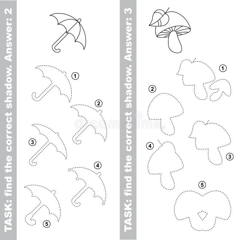 蘑菇和伞 发现真实的正确阴影 库存例证