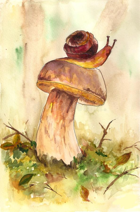 蘑菇和蜗牛 向量例证