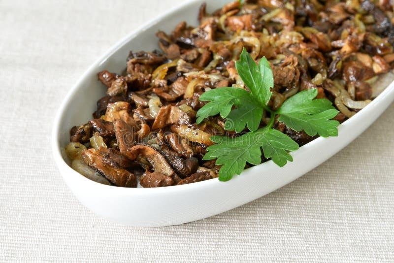 蘑菇和鲱鱼沙拉 图库摄影