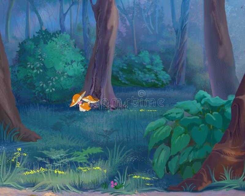 蘑菇在森林里 皇族释放例证