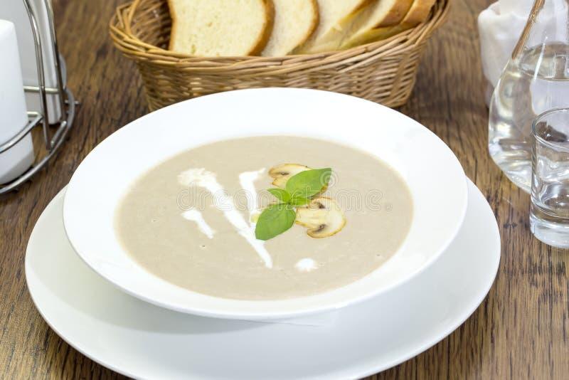 蘑菇奶油色汤 库存照片