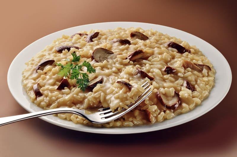 蘑菇意大利煨饭盘与叉子的 图库摄影
