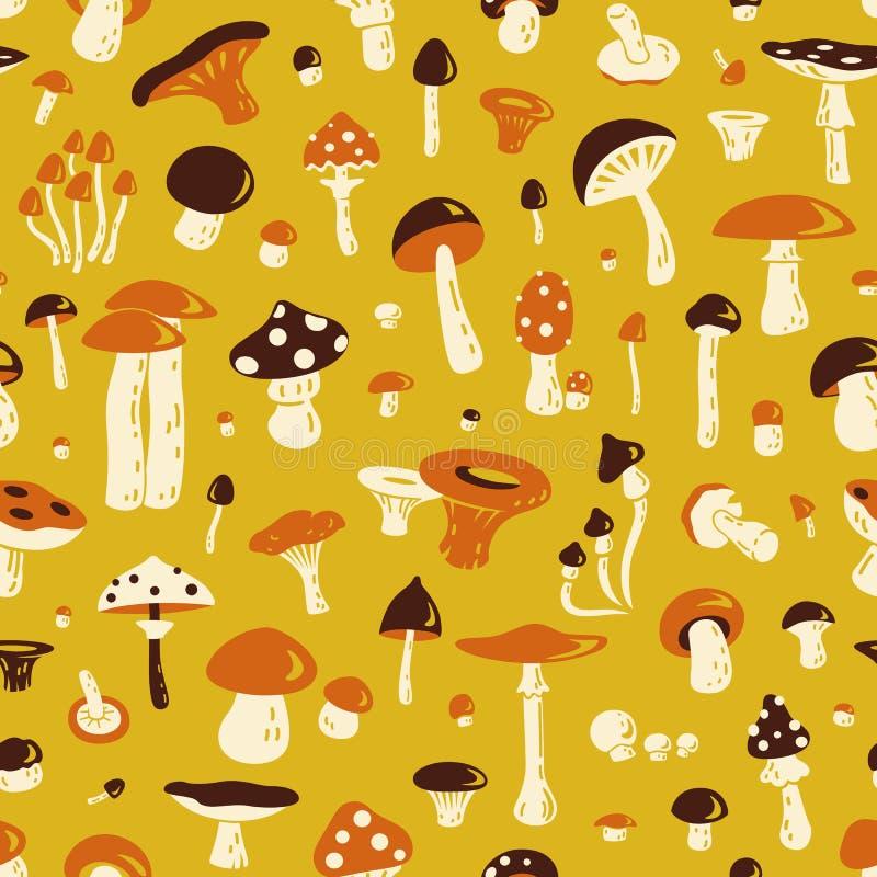 蘑菇无缝的模式 向量例证