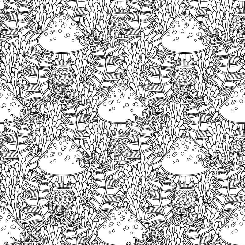 蘑菇无缝的模式 库存例证
