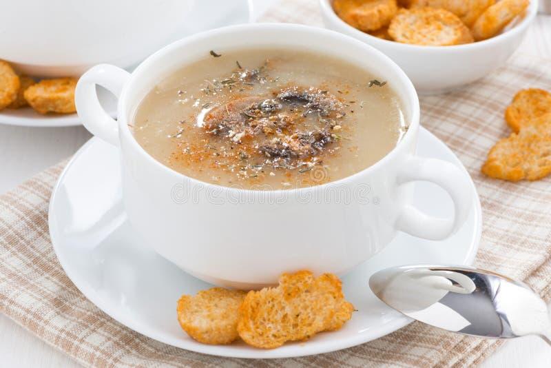 蘑菇汤纯汁浓汤用在白色碗的油煎方型小面包片 库存照片