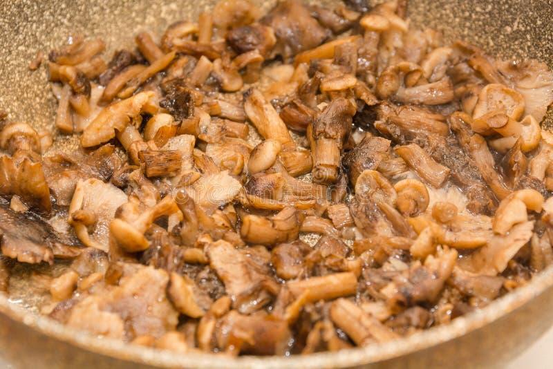 蘑菇油炸物 在煎锅的油煎的蘑菇 蘑菇炖煮的食物 蘑菇的准备 库存图片