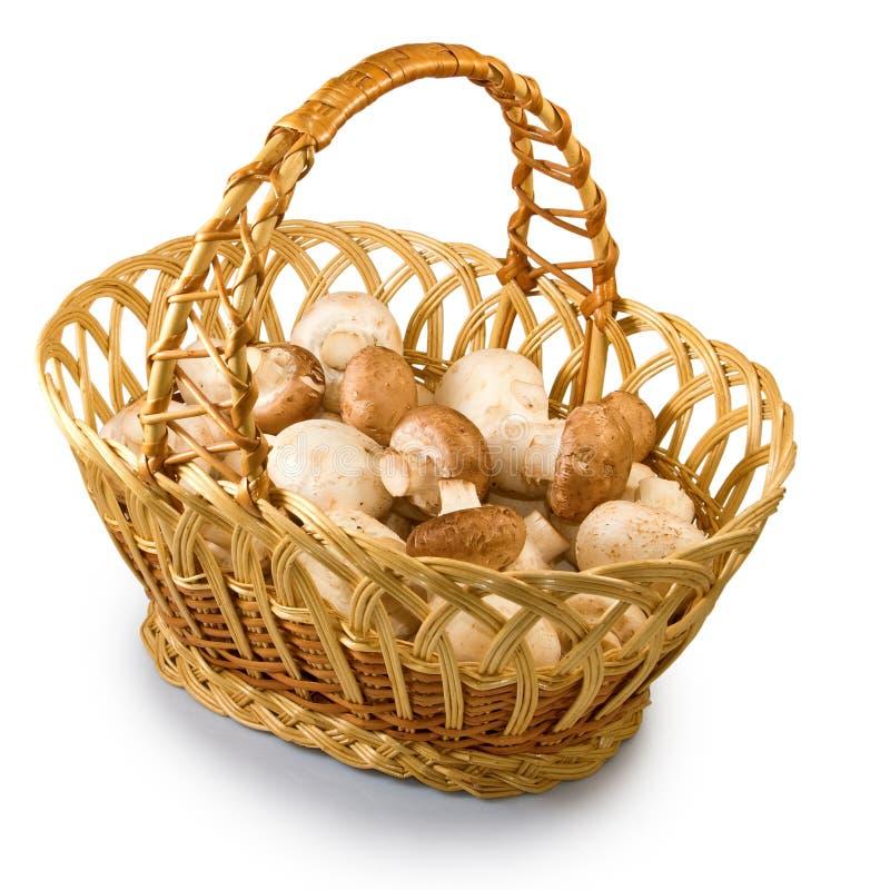 蘑菇的图象在篮子的 库存照片