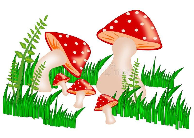 蘑菇家庭 库存例证
