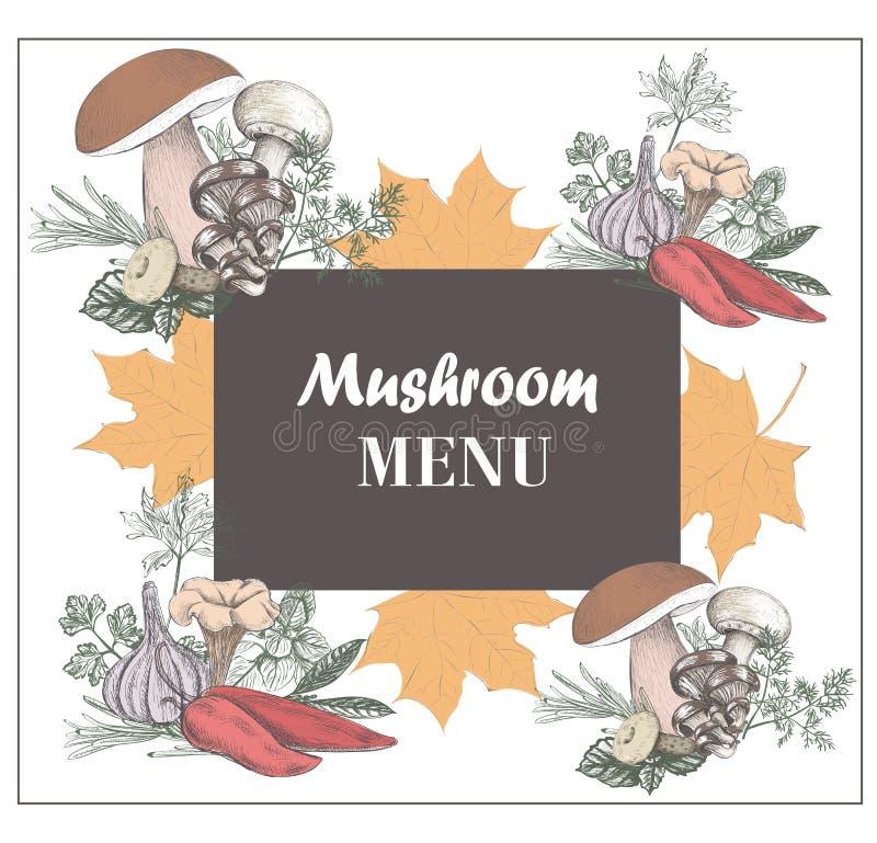 蘑菇菜单 秋天菜单 Th设计的传染媒介例证  向量例证