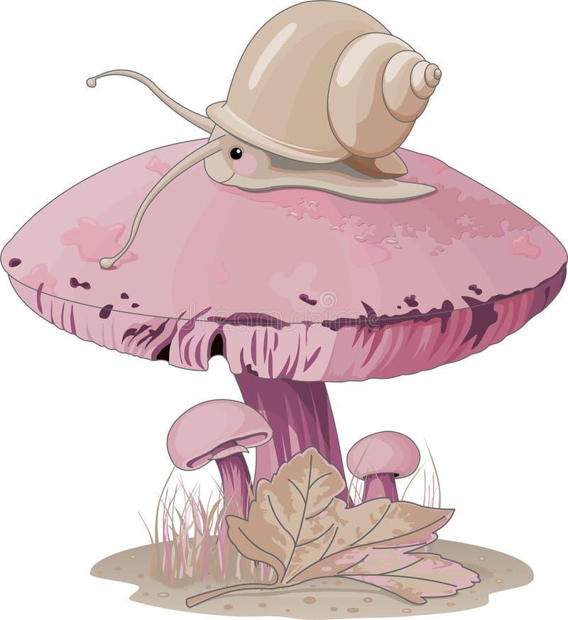 蘑菇蜗牛 库存例证