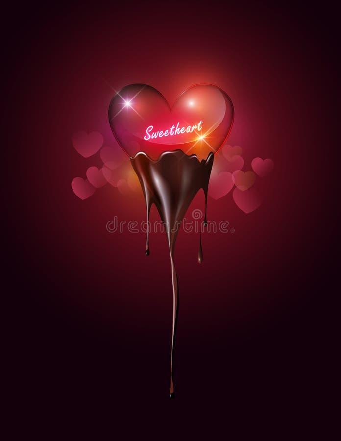 蘸在心脏bokeh背景的心脏透明玻璃熔化巧克力与甜心概念为华伦泰` s天,传染媒介bac 皇族释放例证