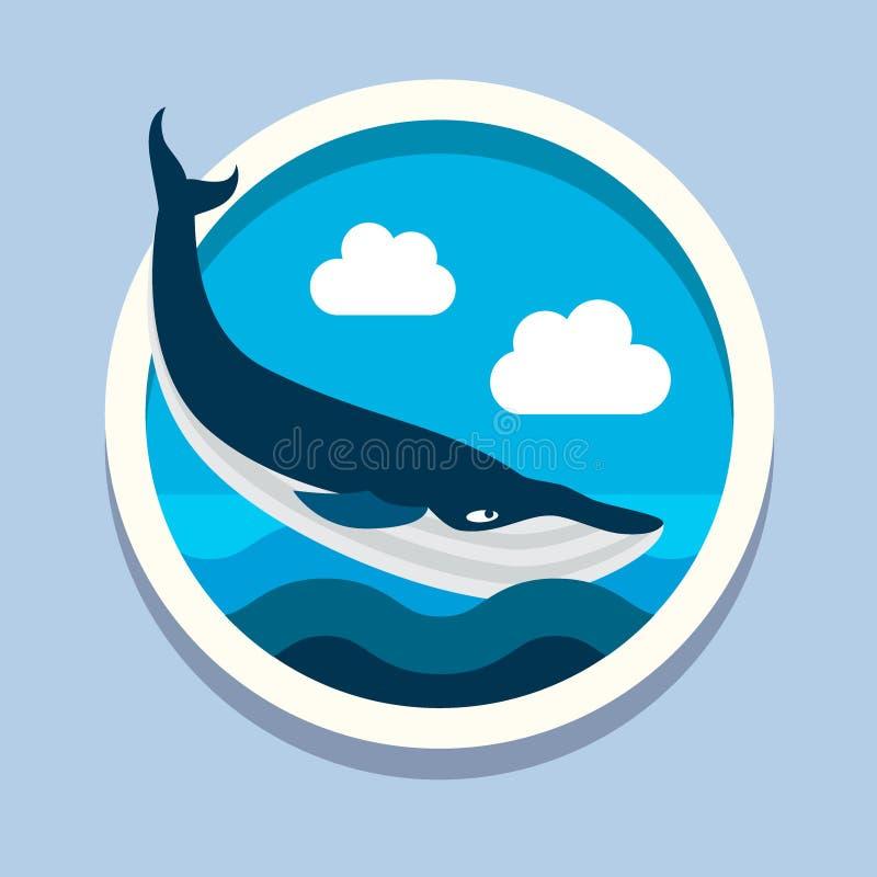 虎鲸,大鱼 旅行,平的样式传染媒介 库存例证