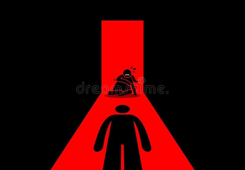 虐待丈夫拍打和强奸他的妻子 向量例证